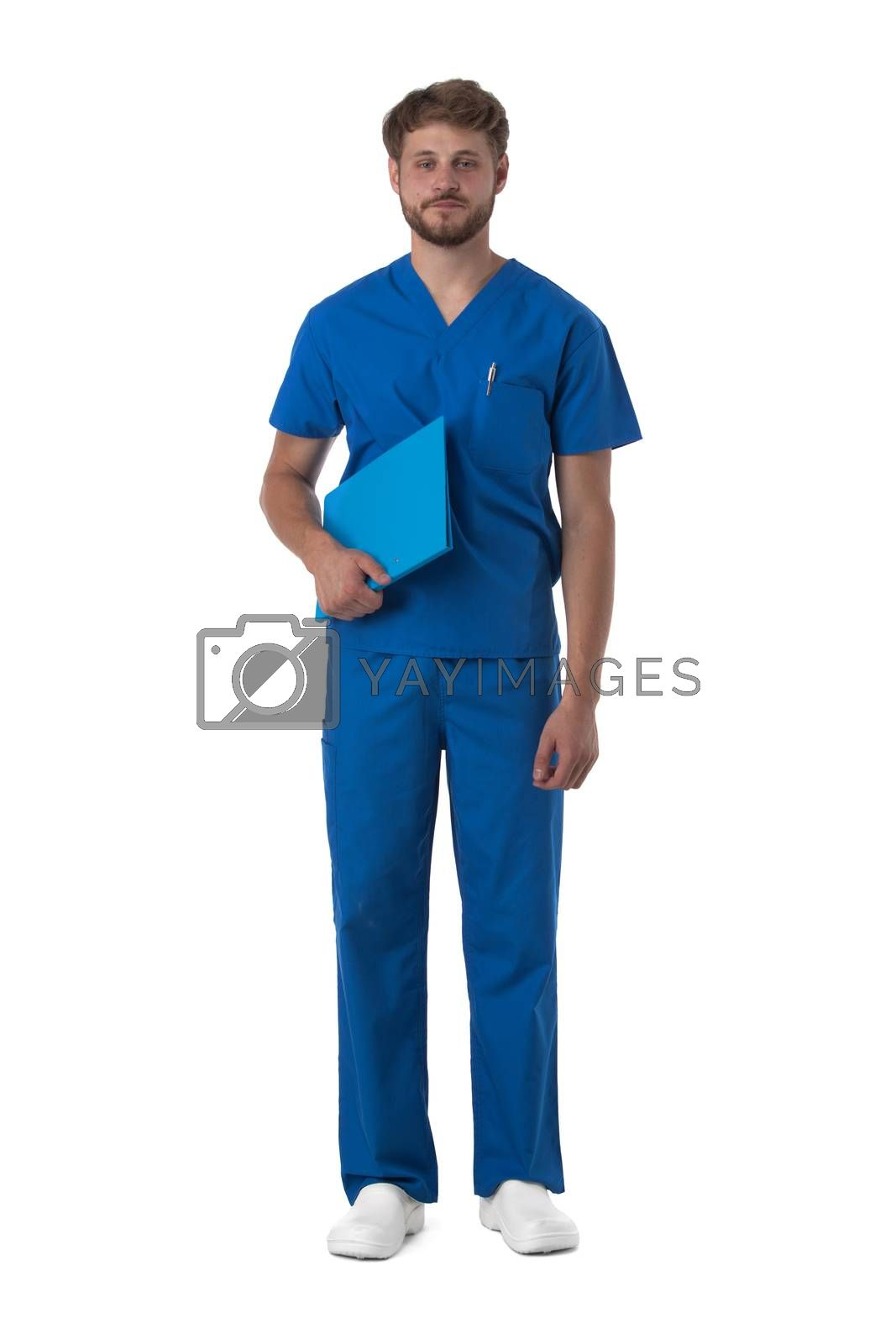 Male nurse in blue uniform with stethoscope and document folder isolated on white background, full length portrait