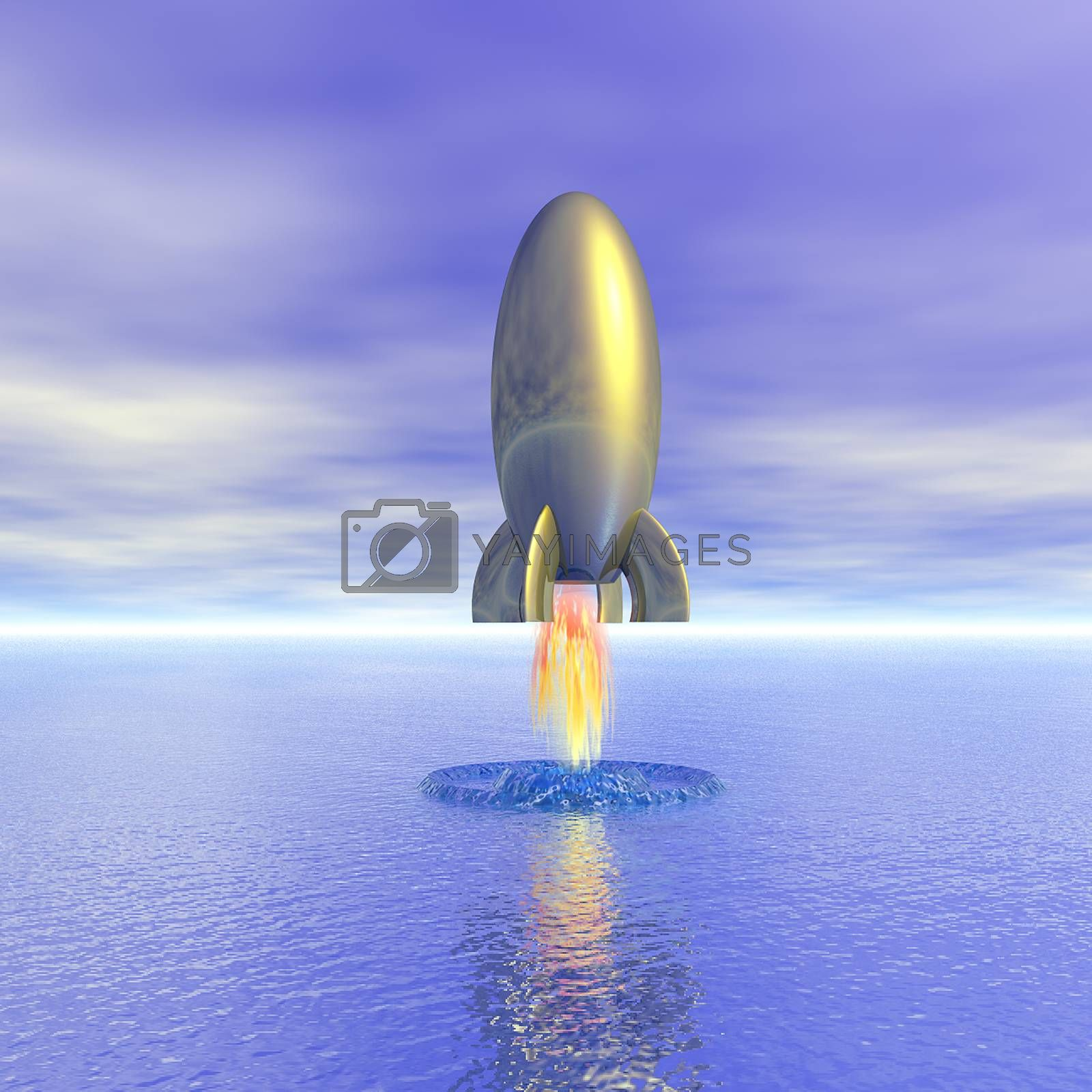 Retro rocket launch from water surface. 3D rendering