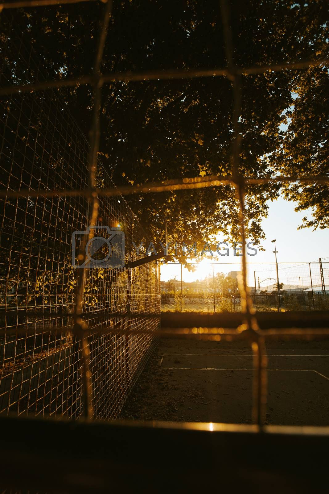 The sun burning the basket on the court in the street during the sunset