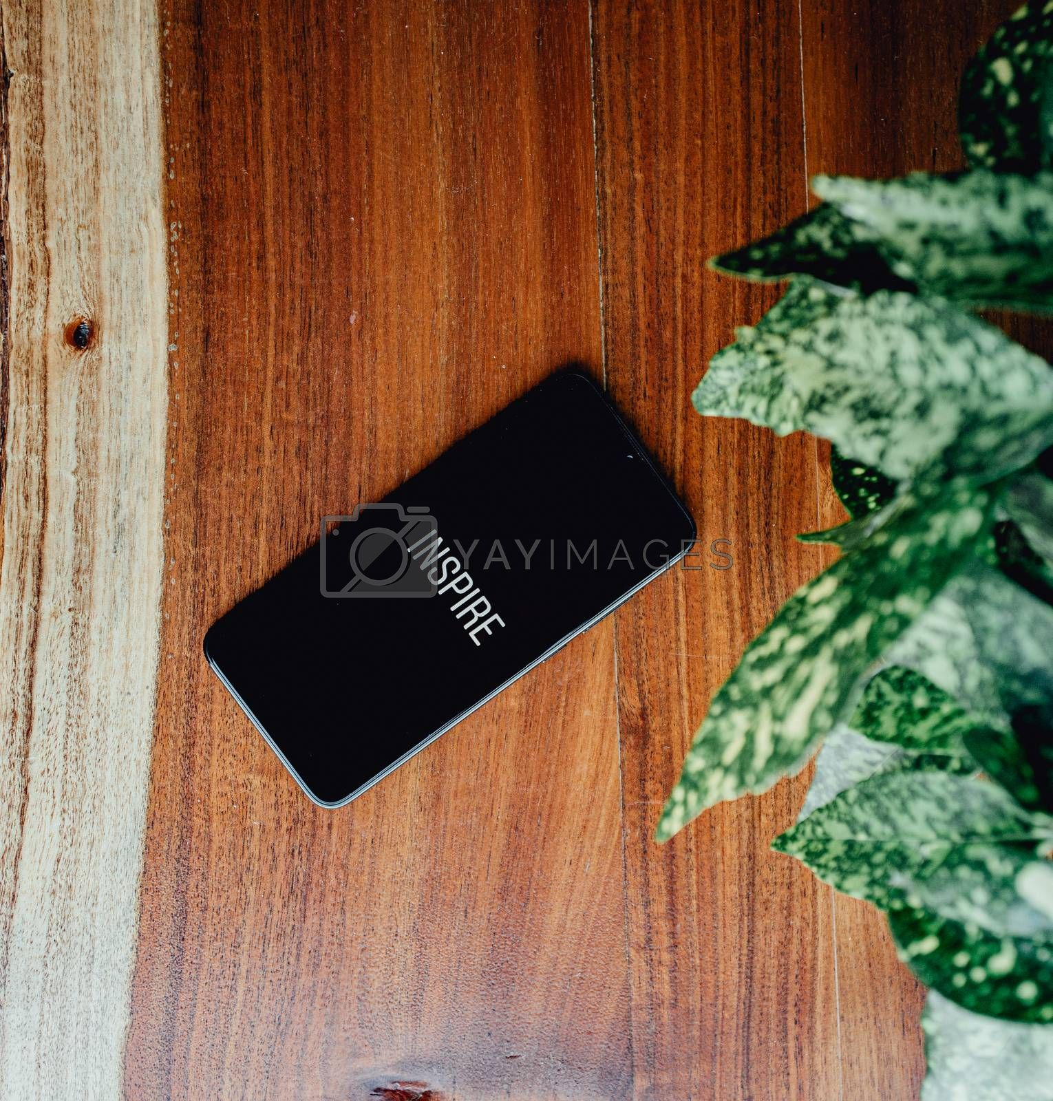 A flat lay of a black phone over a wood background and some leaves near it with the word inspire written in it