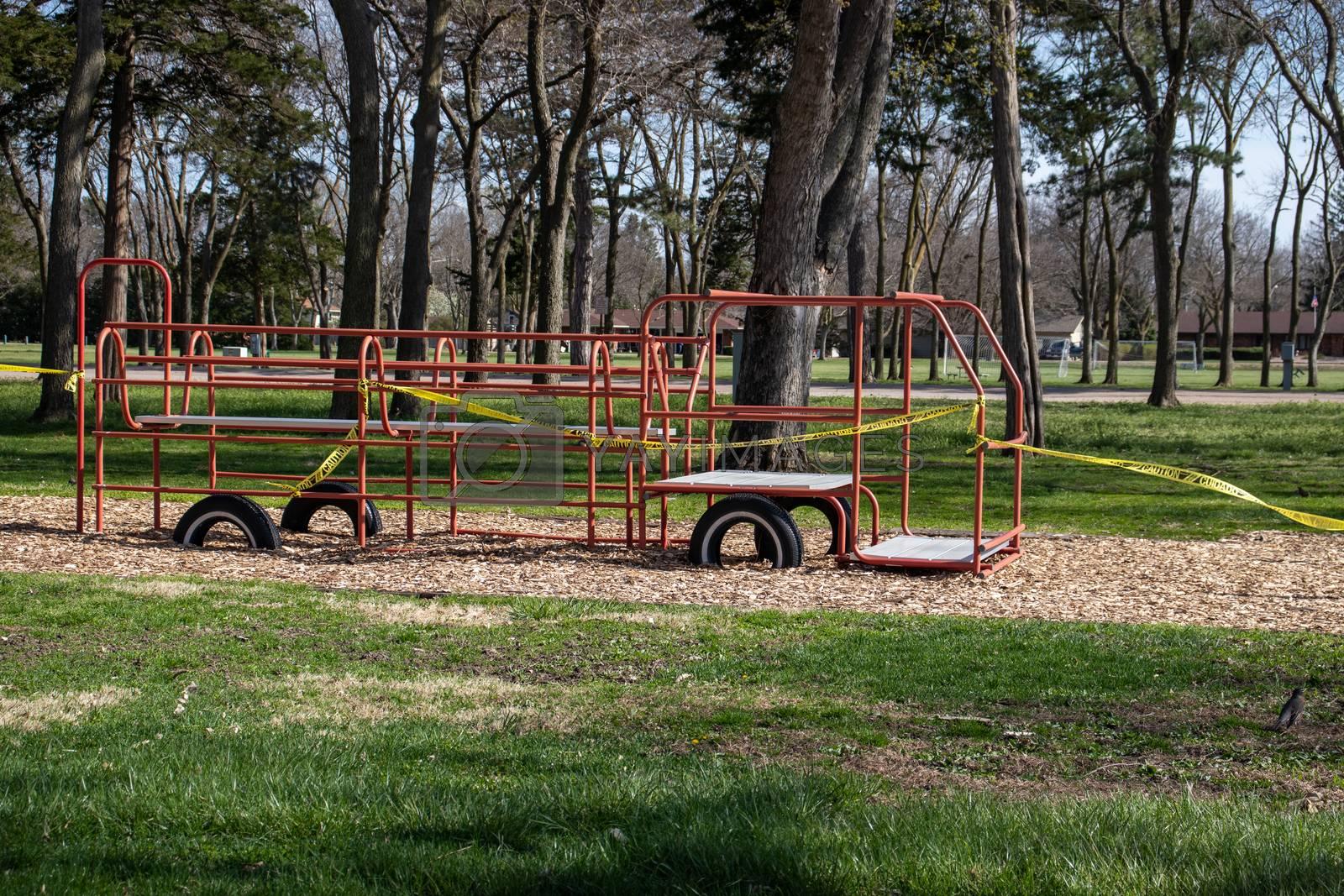 Hall County Taken 4-26-2020 Stolley Park Kids Kingdom Grand Island Nebraska Taped Off Covid-19. High quality photo