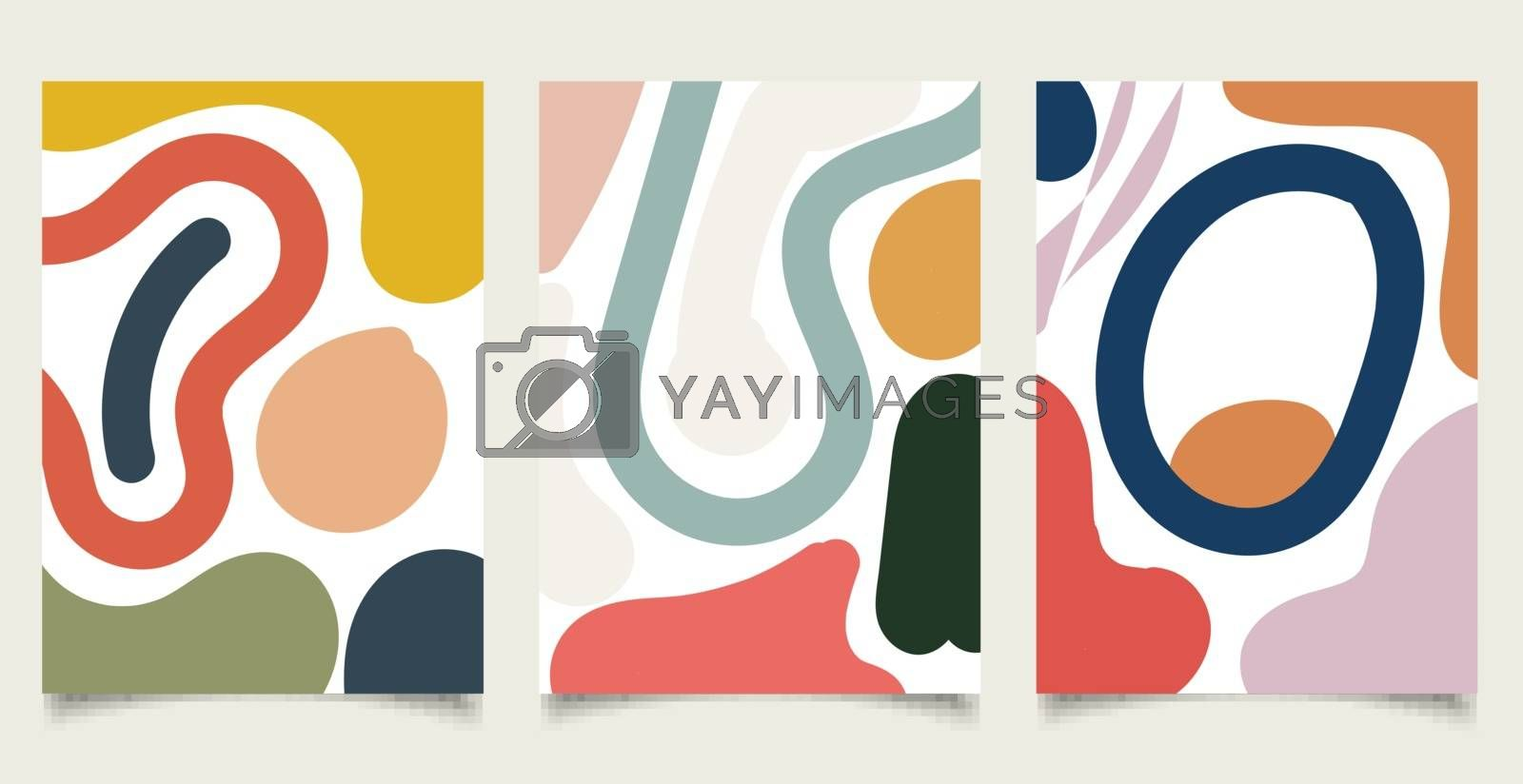 Set of brochure template abstract minimal organic shapes composition pastel color background in trendy contemporary collage style. Vector illustration