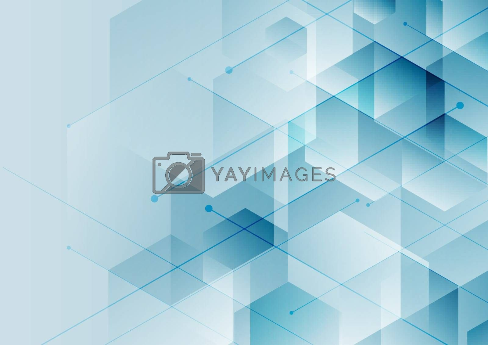 Abstract background blue hexagons with diagonal line, Technology digital concept. Vector illustration