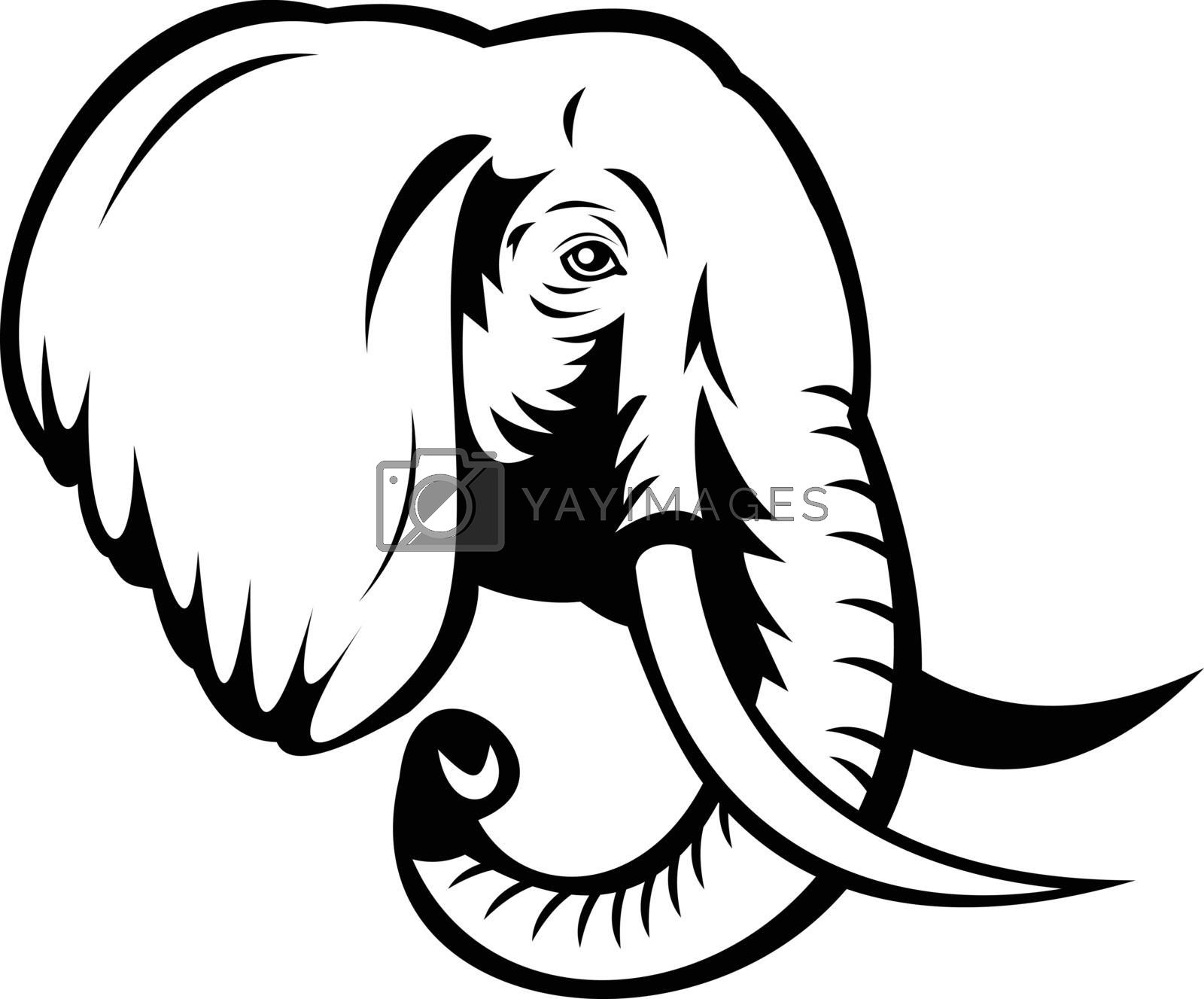 Stencil illustration of head of an African Elephant, Loxodonta, African bush elephant or African forest elephant viewed from side on isolated background done in black and white retro style.