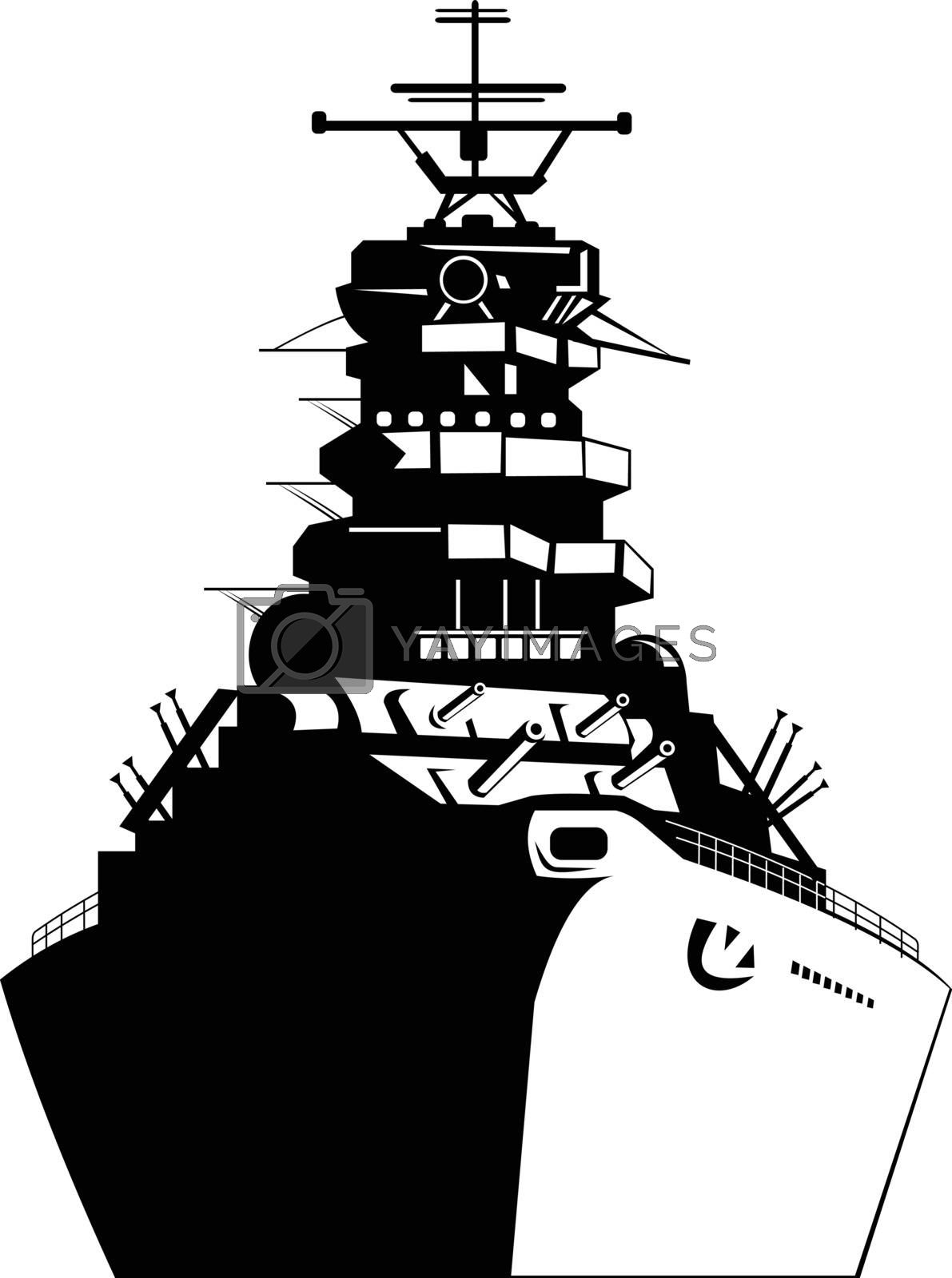 Retro style illustration of an American or United States battleship, warship, dreadnought, naval fighting ship viewed from the front on isolated background done in black and white.