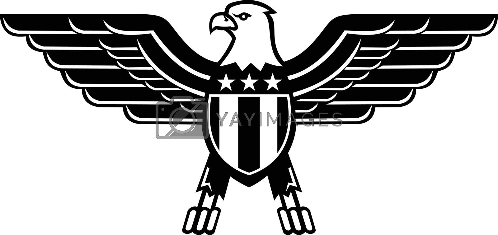 Mascot illustration of a bald eagle with wings spread and American or United States stars and stripes star spangled banner flag on chest viewed from front  on isolated background in retro style.