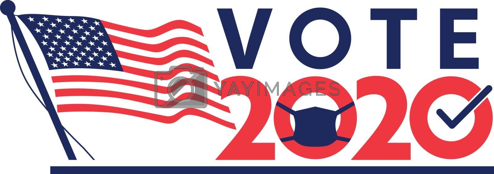 "Retro style illustration of an American stars and stripes flag with words vote 2020 with letter ""O"" wearing a face mask or face covering during coronovirus covid-19 pandemic United States election."