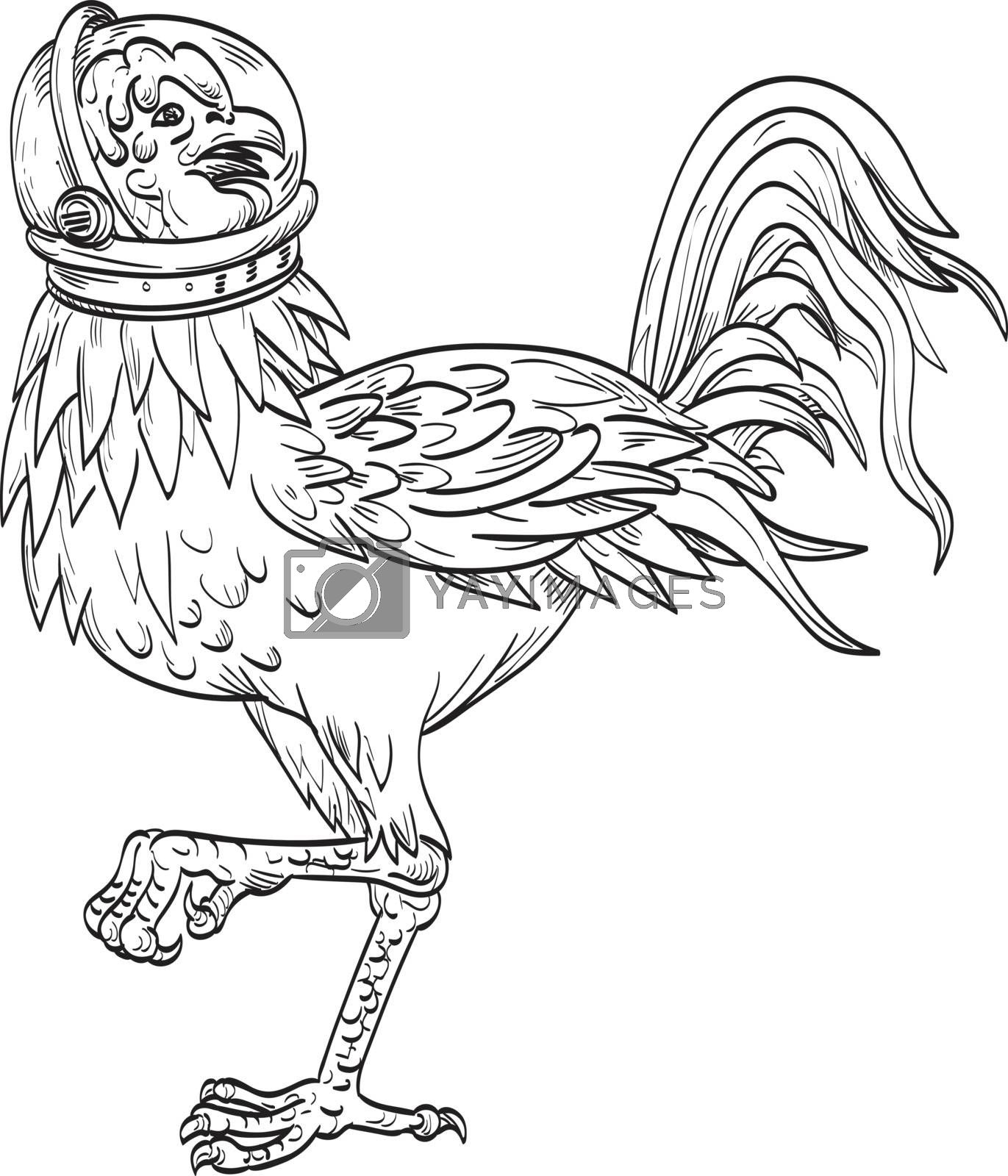 Ukiyo-e or ukiyo style illustration of a basan, basabasa or inuhoo, a fowl-like bird from Japanese mythology and folklore like a rooster wearing a space helmet standing side in black and white.