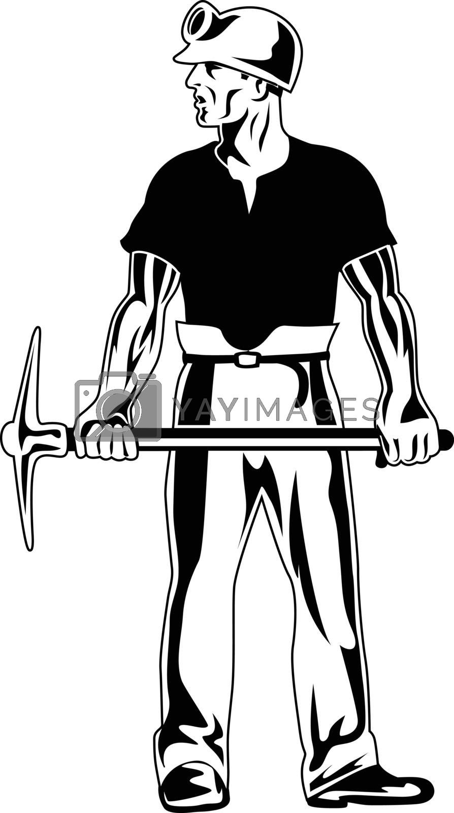 Stencil illustration of coal miner wearing hard hat and holding pick ax standing viewed from front on isolated background done in black and white retro style.