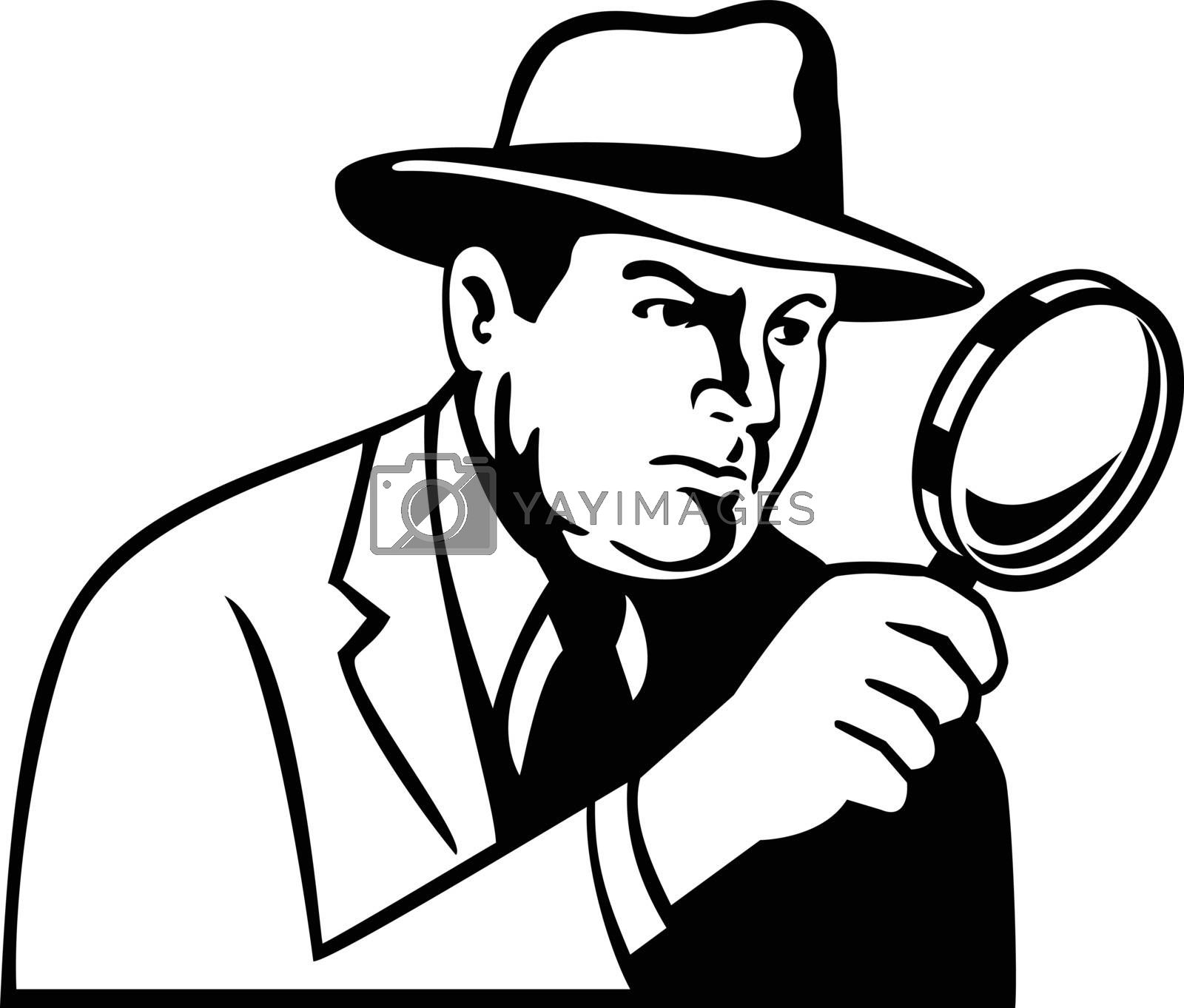 Stencil illustration of a detective, inspector, private eye or investigator looking through magnifying glass wearing fedora hat viewed from side on isolated background in black and white retro style.