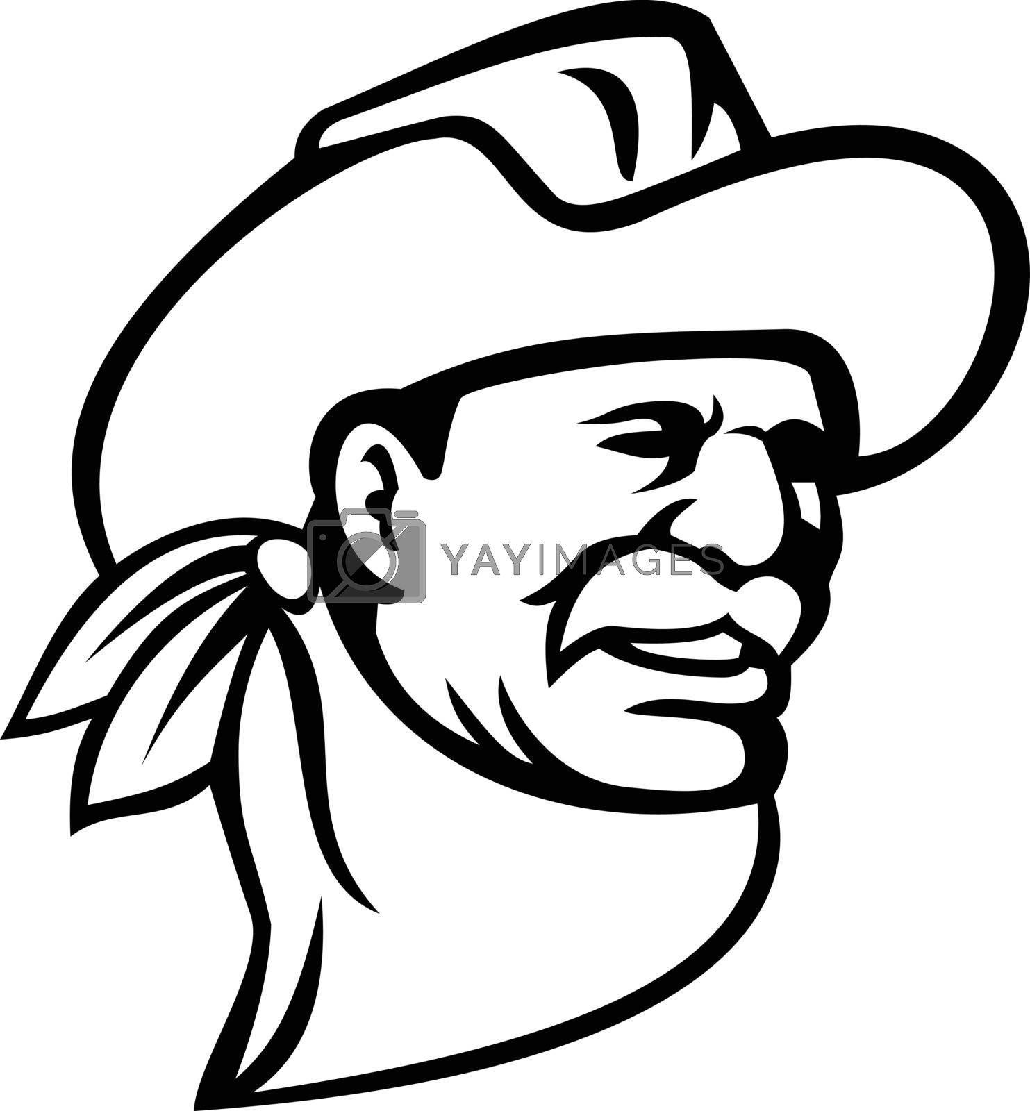 Mascot illustration of an American cowboy wearing a hat, mustache and neckerchief or bandana looking to side on isolated background in retro black and white style.
