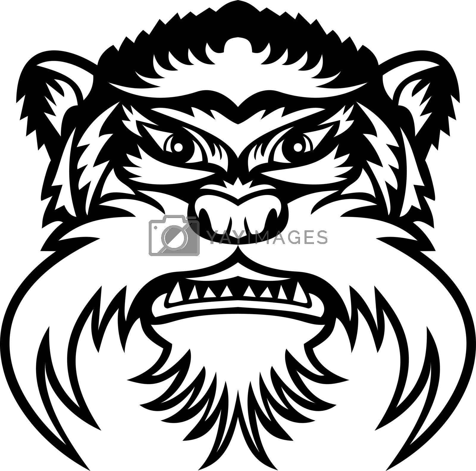 Mascot illustration of head of an emperor tamarin or Saguinus imperator, a species of tamarin monkey in the Amazonas viewed from front on isolated background in retro black and white style.