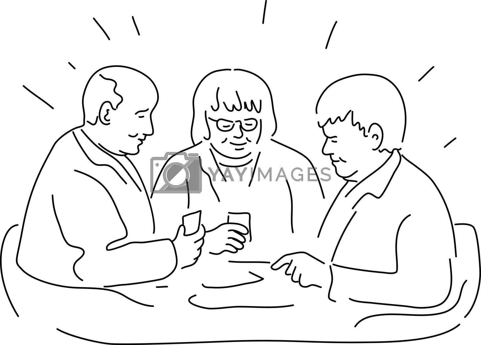 Mono line illustration of a group of elderly or senior patients in rest home or residential facility playing cards done in monoline black and white style.