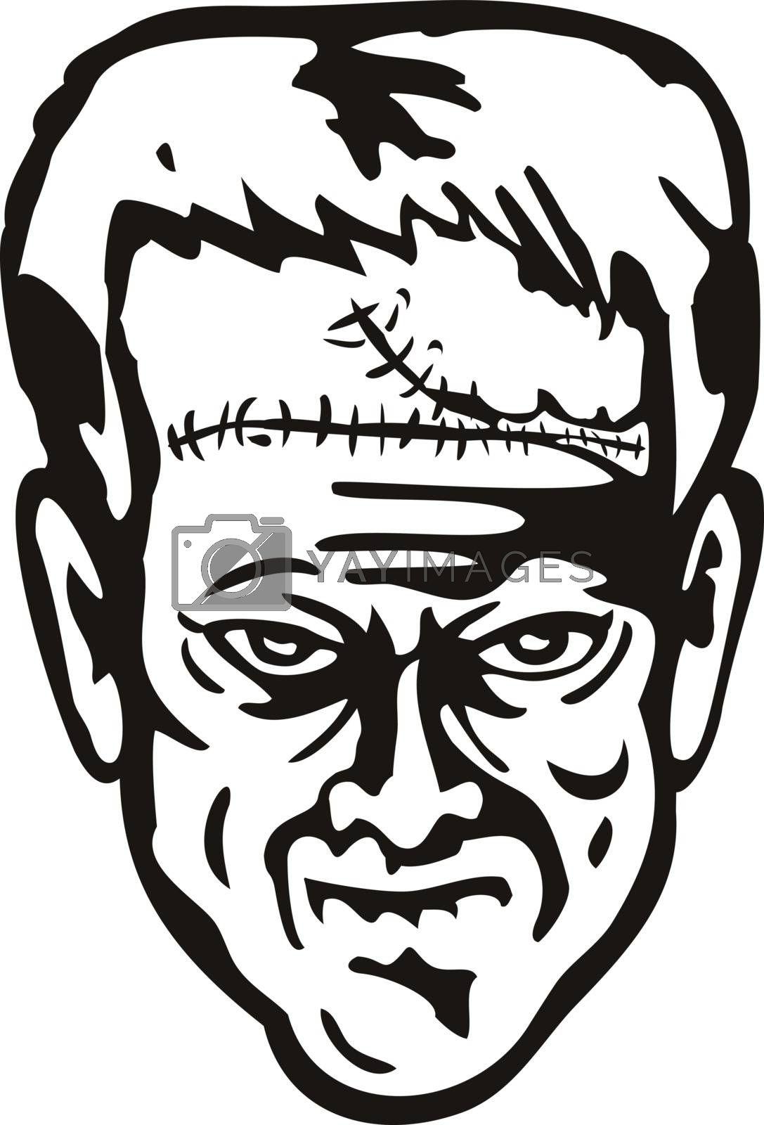 Stencil illustration of head of Doctor Victor Frankenstein's monster viewed from front on isolated background done in black and white retro style.