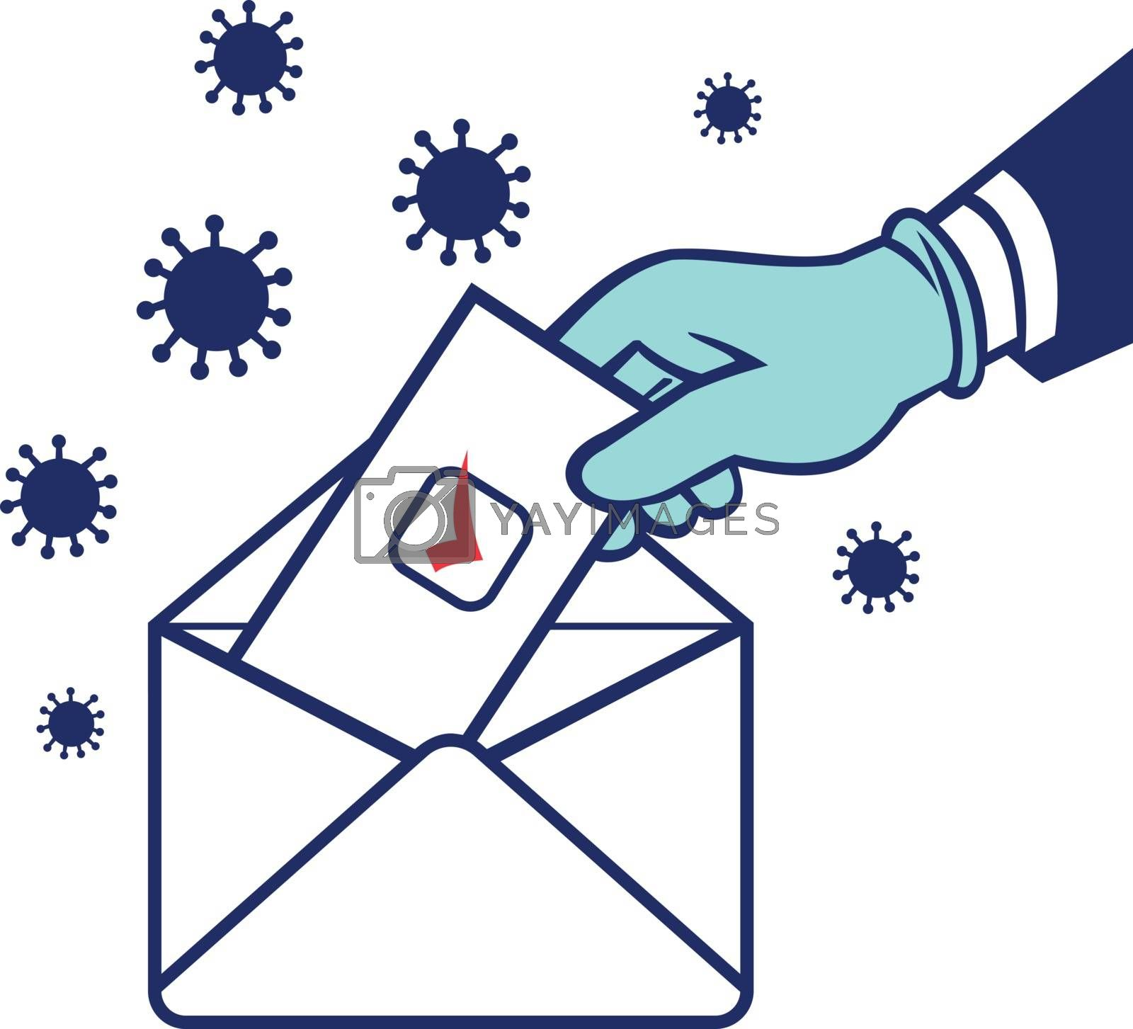 Retro style illustration of an American voter with glove hand voting during pandemic covid-19 coronavirus lockdown putting ballot or vote inside postal ballot envelope in on isolated background.