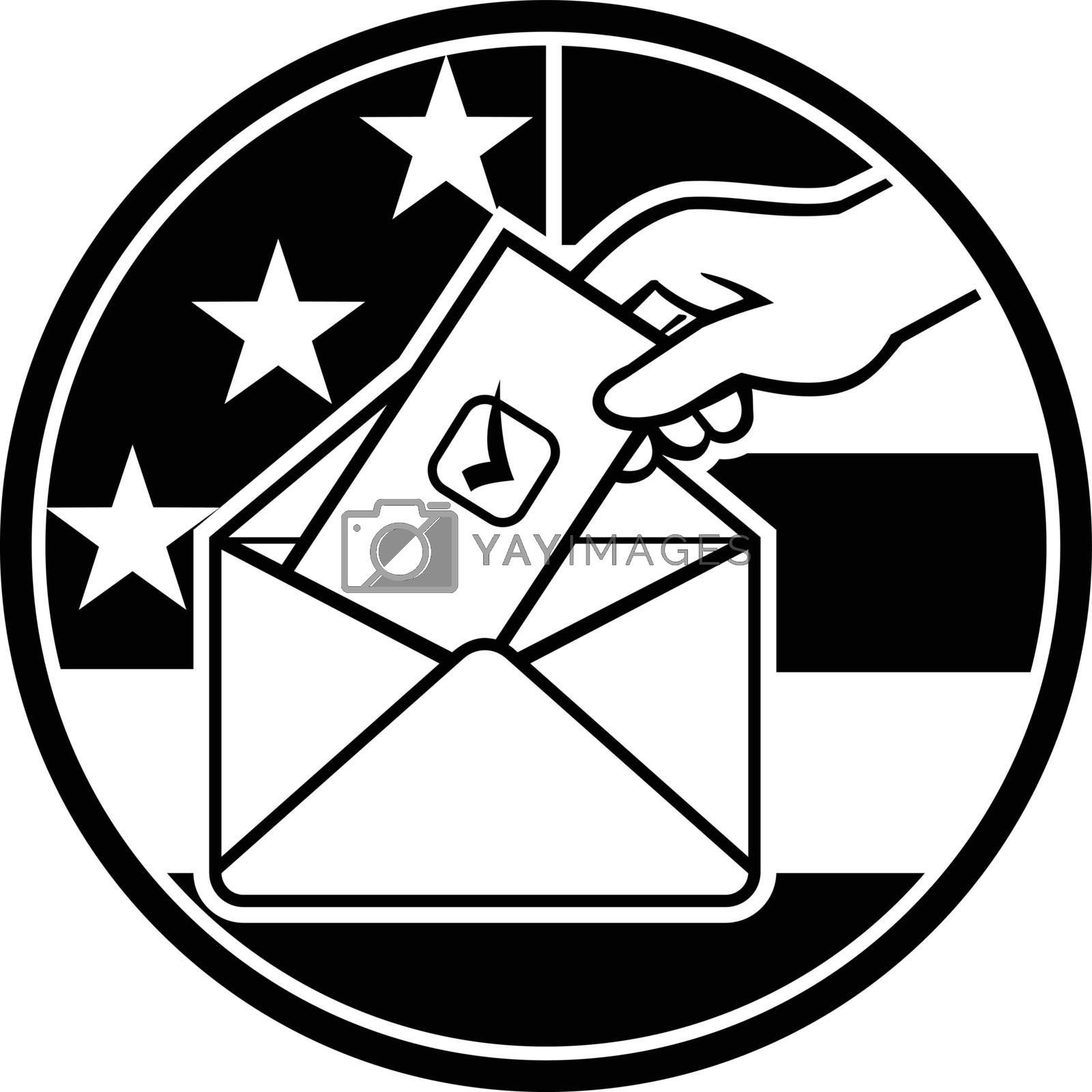 Retro black and white style illustration of a hand of an American voter putting ballot or vote inside postal ballot envelope with USA stars and stripes flag inside circle on isolated background.