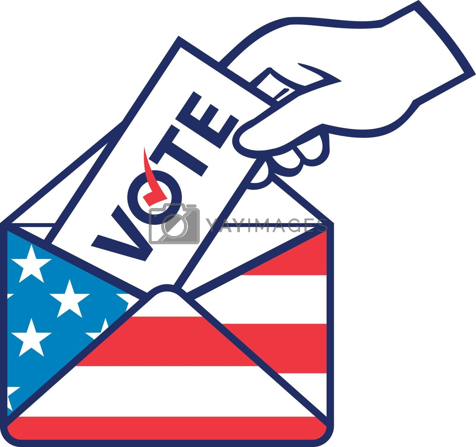 Retro style illustration of a hand of an American voter posting ballot or vote inside postal ballot envelope with USA stars and stripes flag on isolated background.