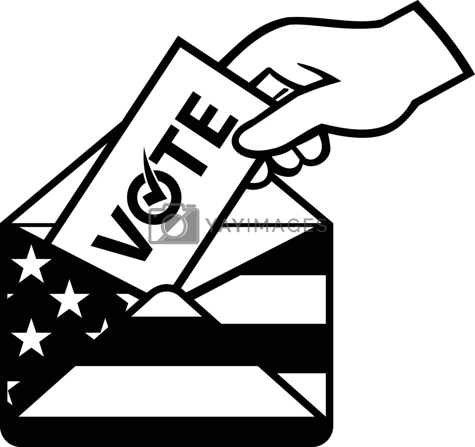 Retro black and white style illustration of a hand of an American voter posting ballot or vote inside postal ballot envelope with USA stars and stripes flag on isolated background.