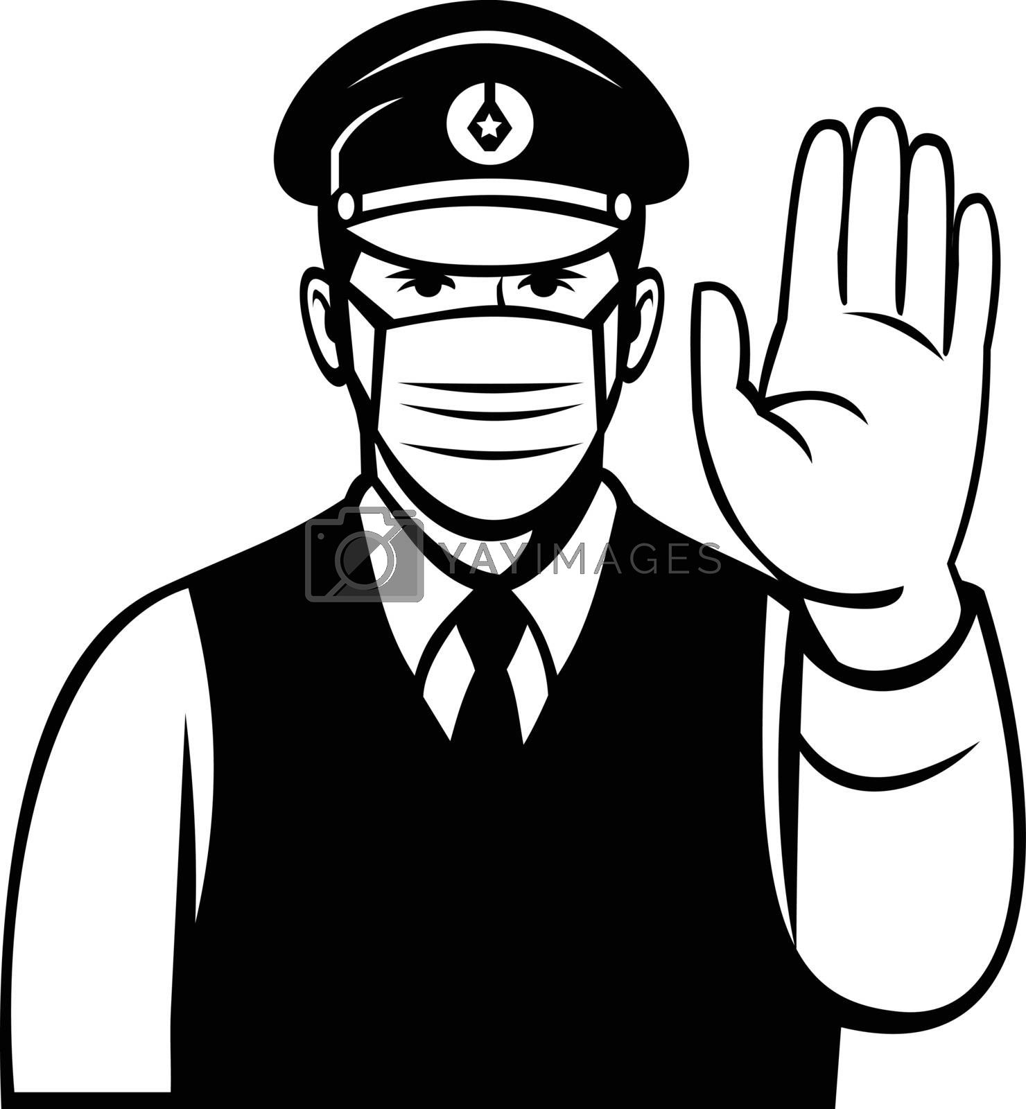 Black and white cartoon illustration of a Japanese policeman or police officer wearing face mask or covering showing stop hand signal viewed from front in retro style on isolated background.