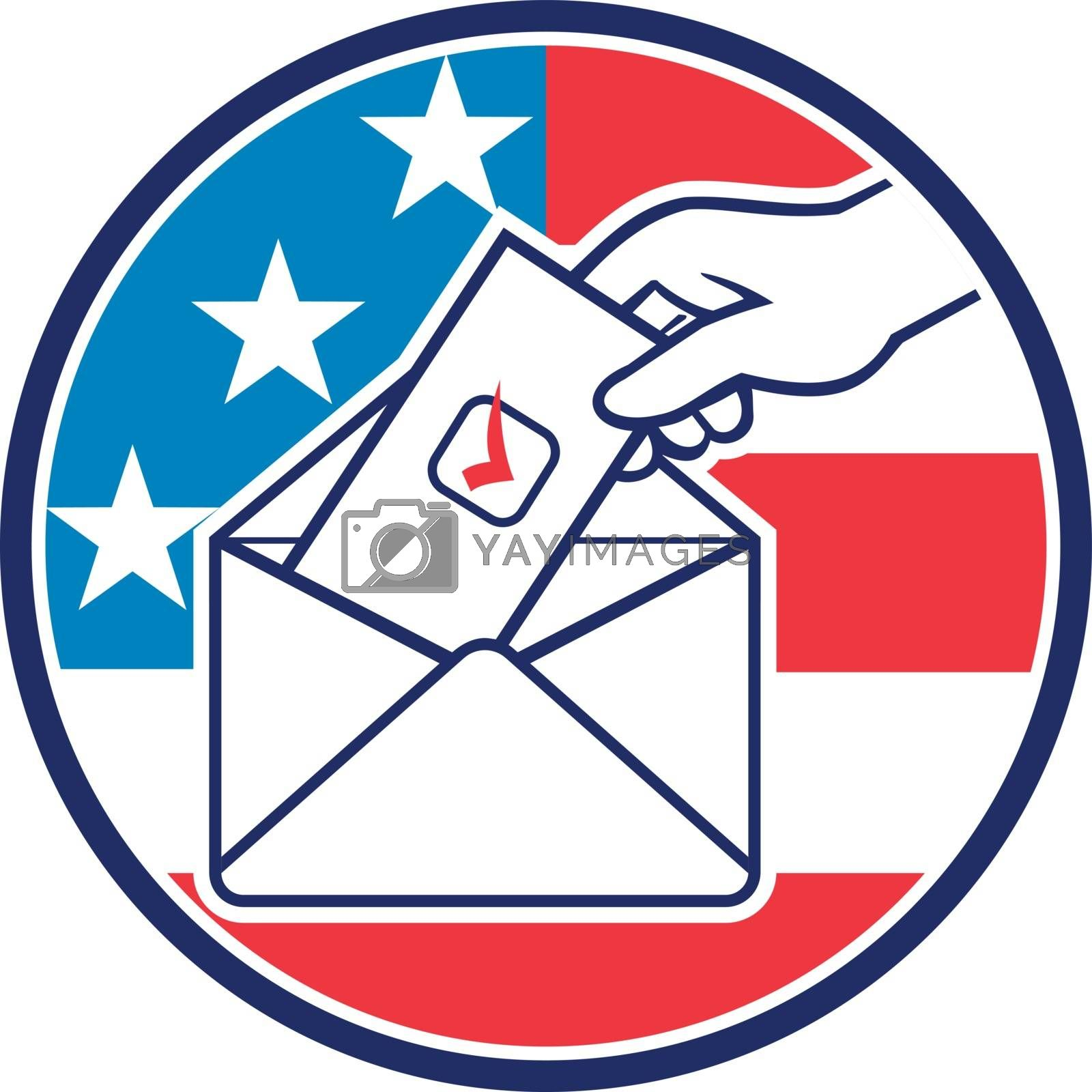 Retro style illustration of a hand of an American voter putting ballot or vote inside postal ballot envelope with USA stars and stripes flag inside circle on isolated background.