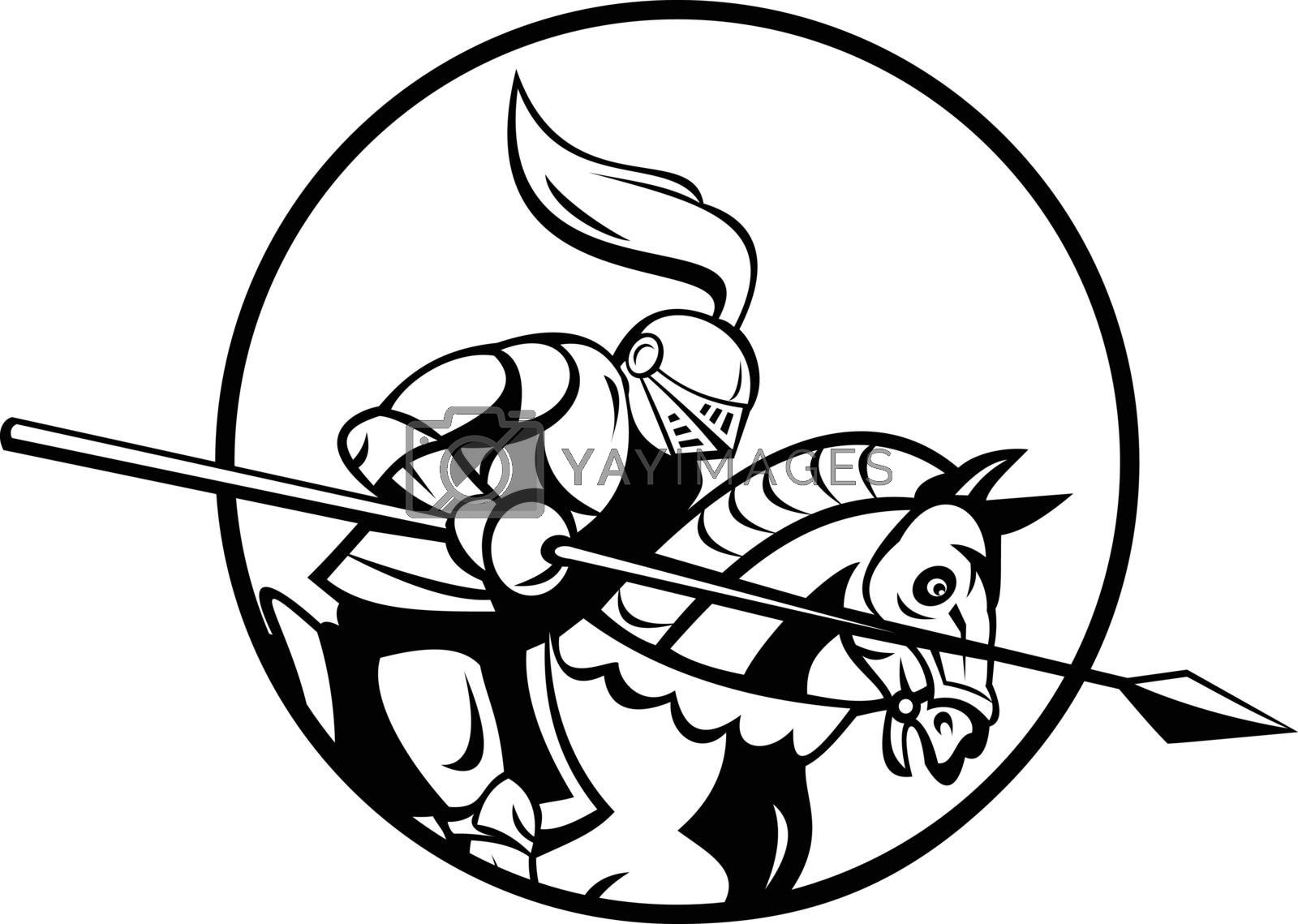 Retro style illustration of a medieval knight with lance riding steed set inside circle viewed from side on isolated background done in black and white.
