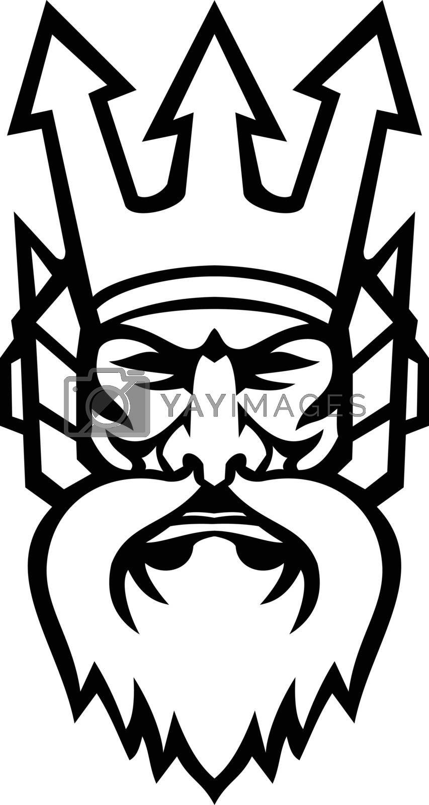 Mascot illustration of head of angry Poseidon or Neptune, god of the Sea in Greek religion and myth, wearing a trident crown viewed from front on isolated background in retro style.