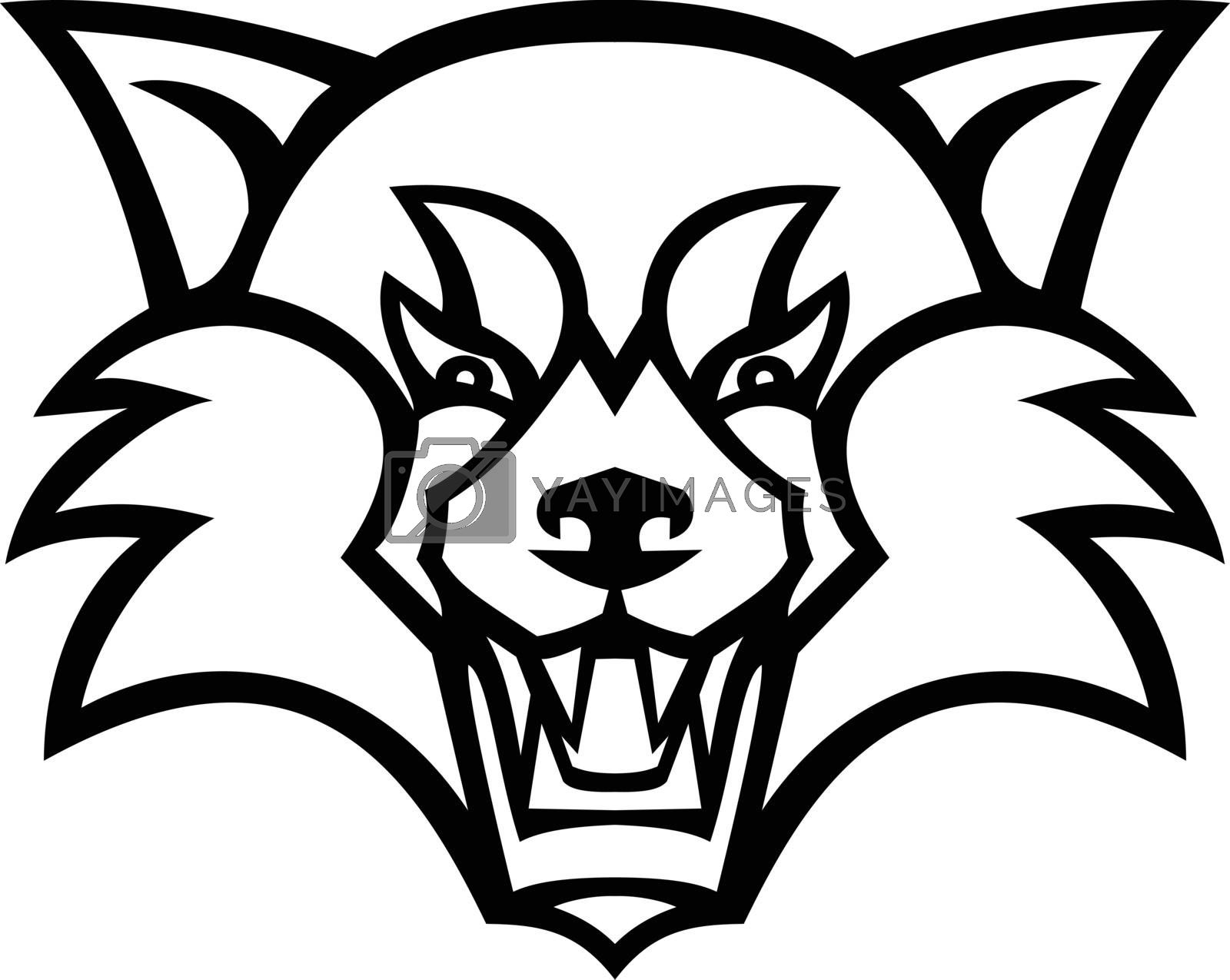 Mascot illustration of head of an angry red panda, the lesser panda, red bear-cat, or the red cat-bear viewed from front on isolated background in retro black and white style.