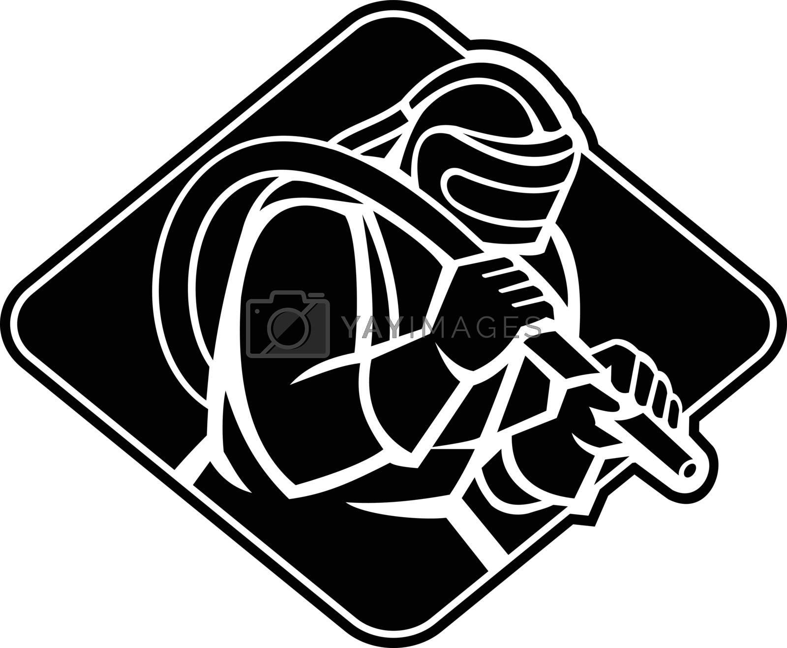 Stencil black and white Illustration of a sandblaster worker holding sandblasting hose wearing helmet visor set inside diamond shape done in retro style.