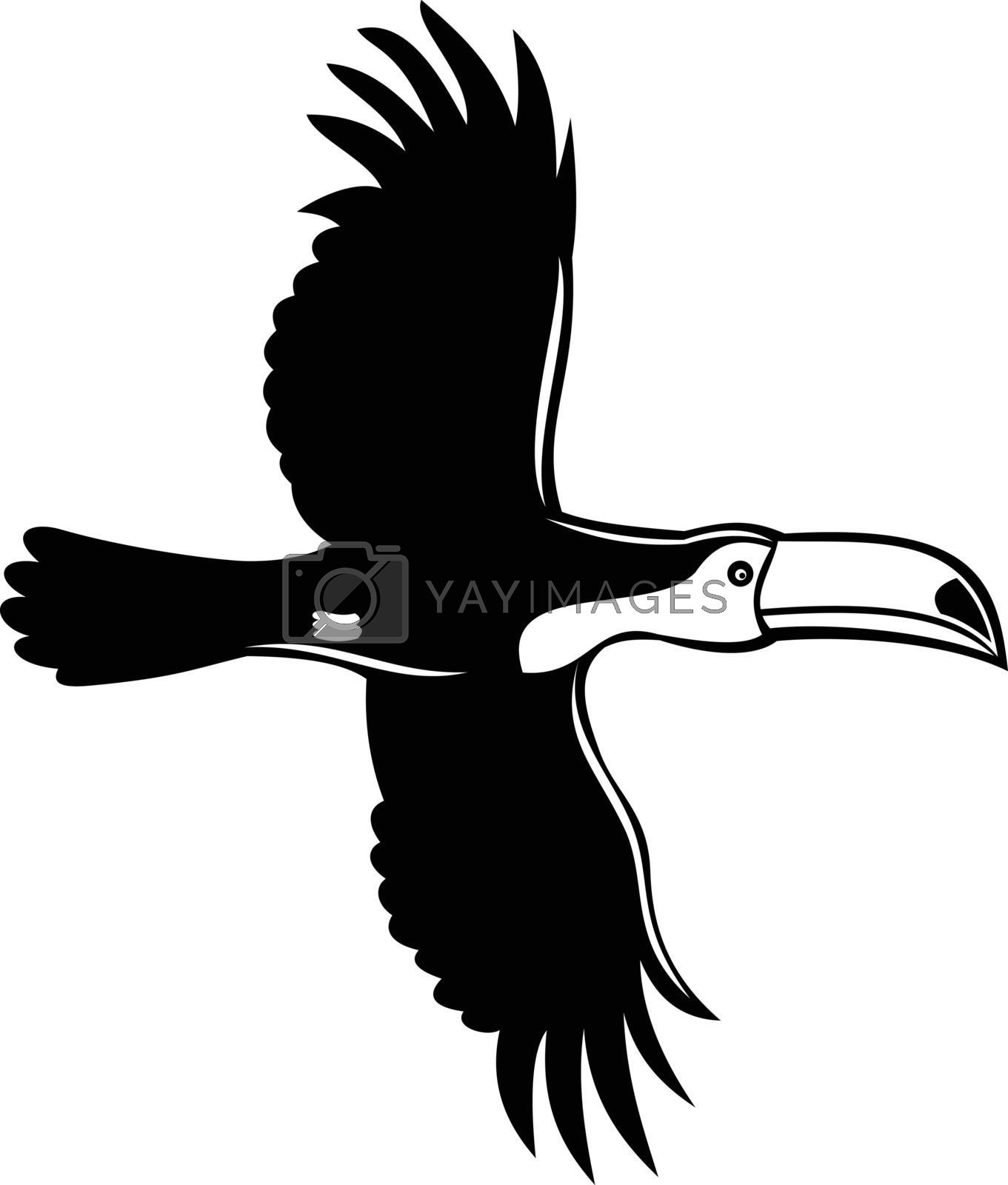 Stencil illustration of a toco toucan, Ramphastos toco, common toucan or giant toucan, flying viewed from side on isolated background done in black and white retro style.