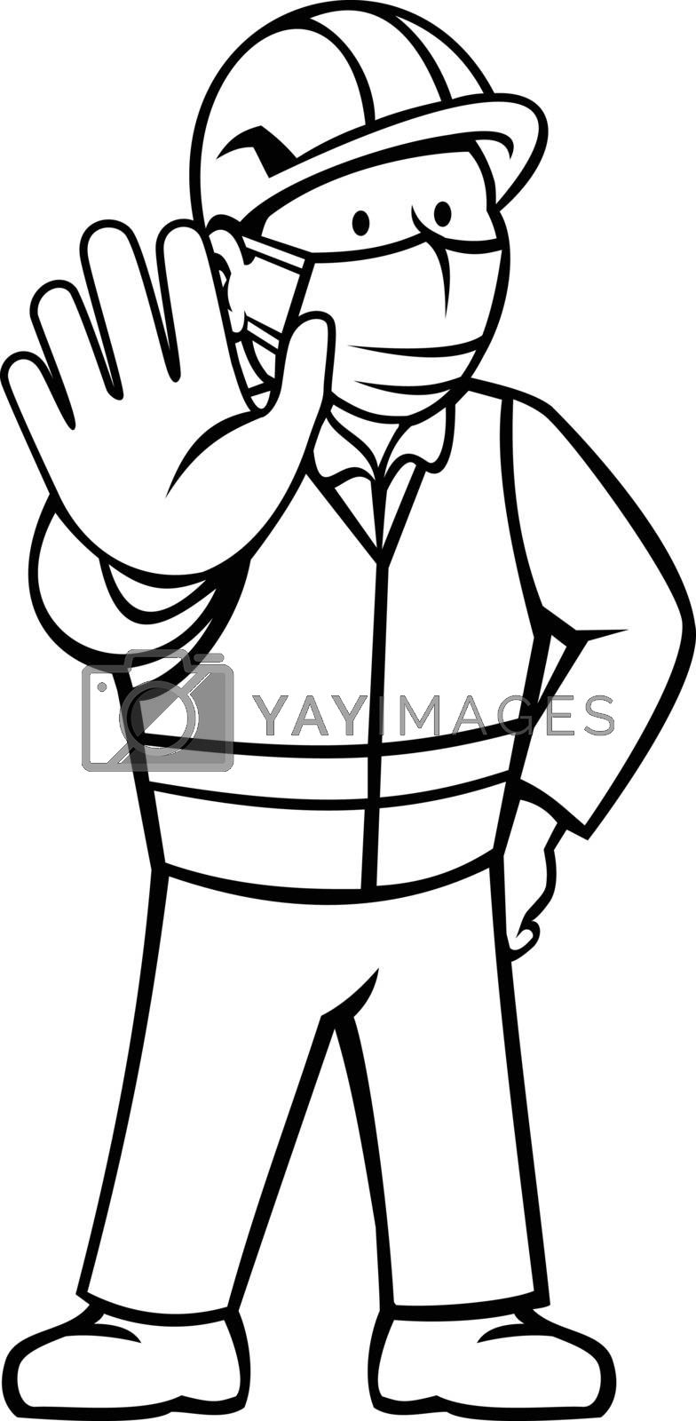 Black and white cartoon illustration of a construction worker wearing face mask showing stop hand signal with hand on hips viewed from front in retro style on isolated background.