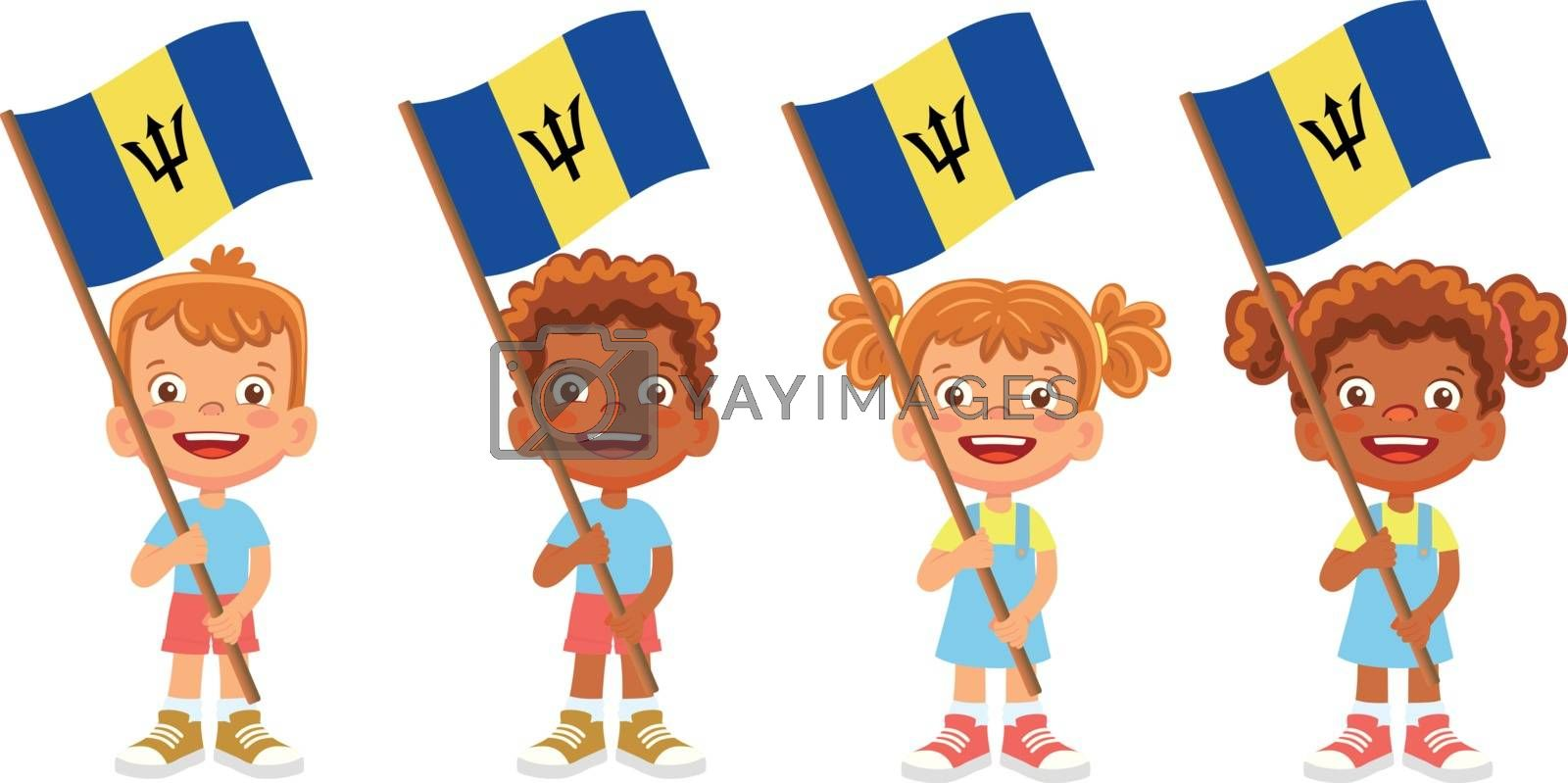 Barbados flag in hand. Children holding flag. National flag of Barbados vector