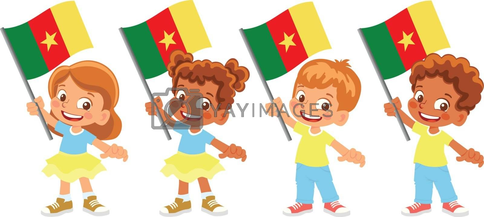Cameroon flag in hand. Children holding flag. National flag of Cameroon vector