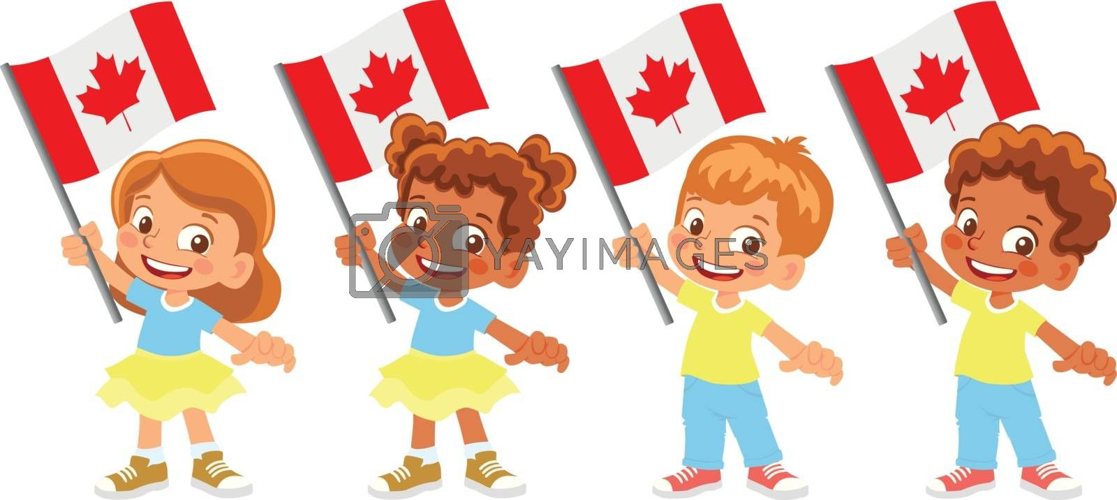 Canada flag in hand. Children holding flag. National flag of Canada vector
