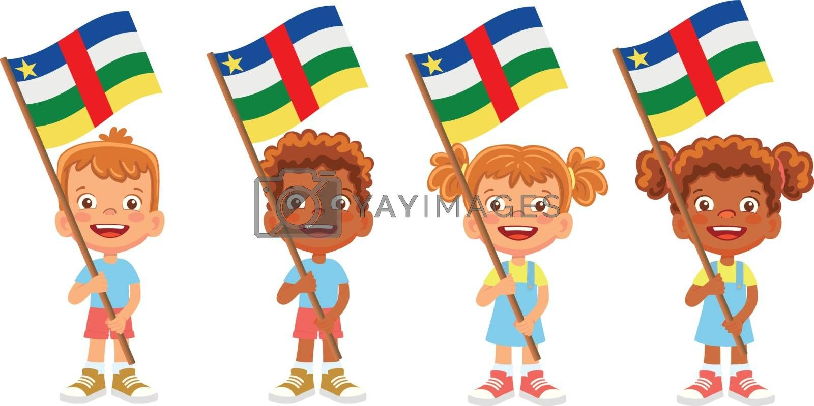 Central African Republic flag in hand. Children holding flag. National flag of Central African Republic vector