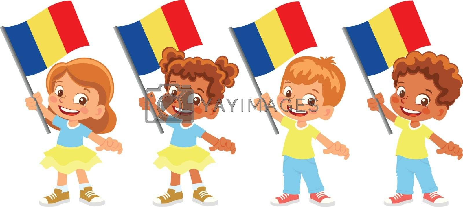 Chad flag in hand. Children holding flag. National flag of Chad vector