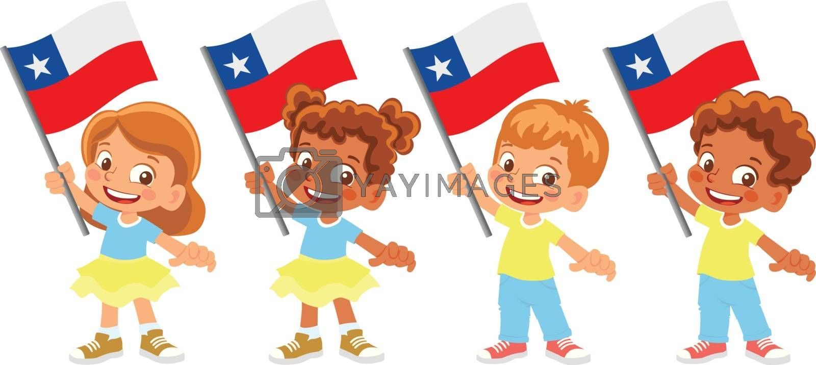 Chile flag in hand. Children holding flag. National flag of Chile vector