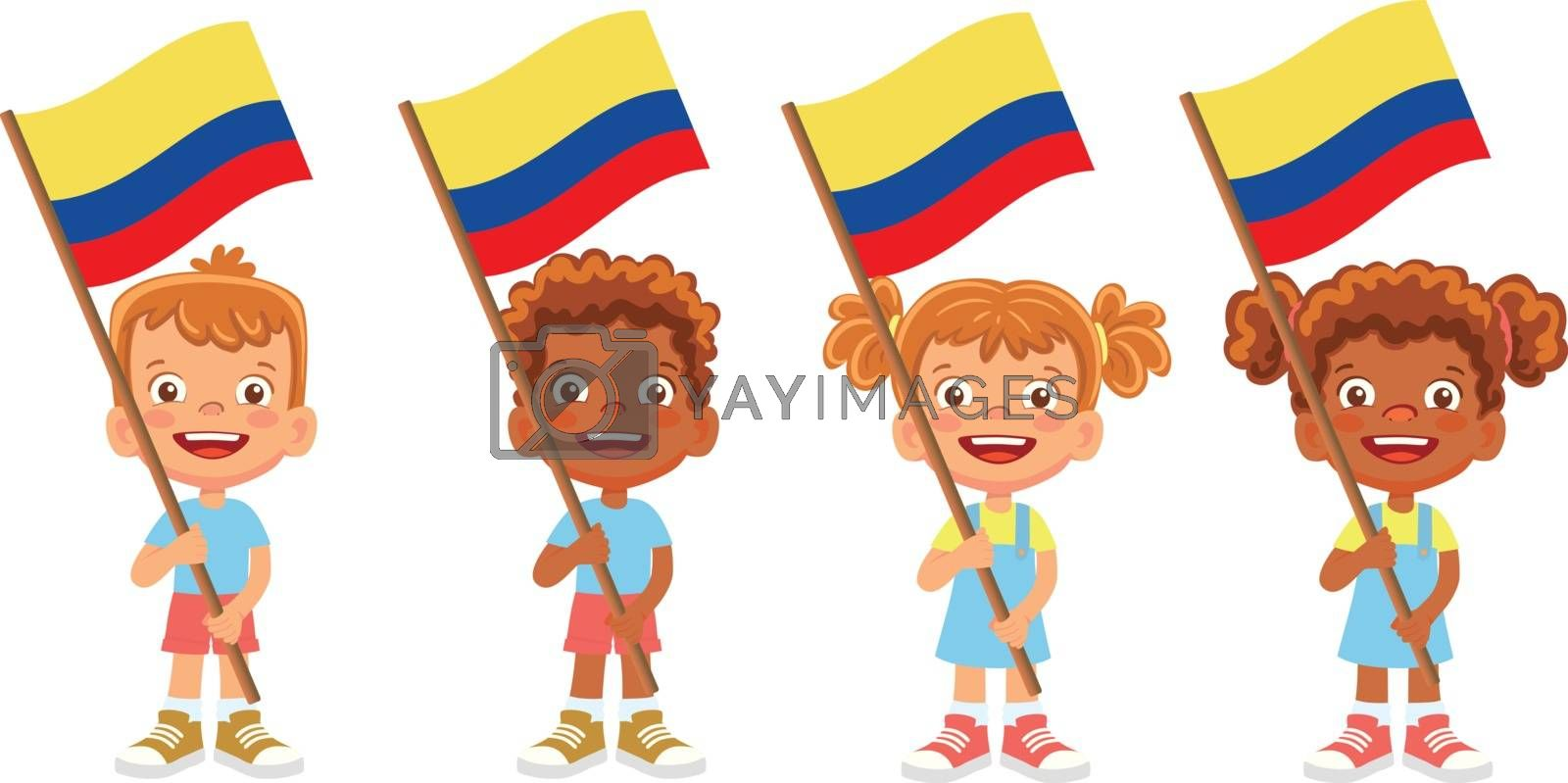 Colombia flag in hand. Children holding flag. National flag of Colombia vector