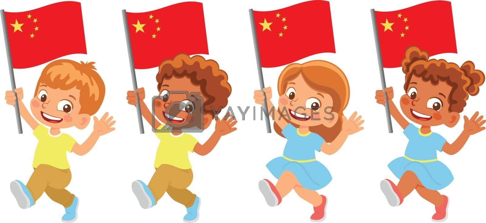 China flag in hand. Children holding flag. National flag of China vector