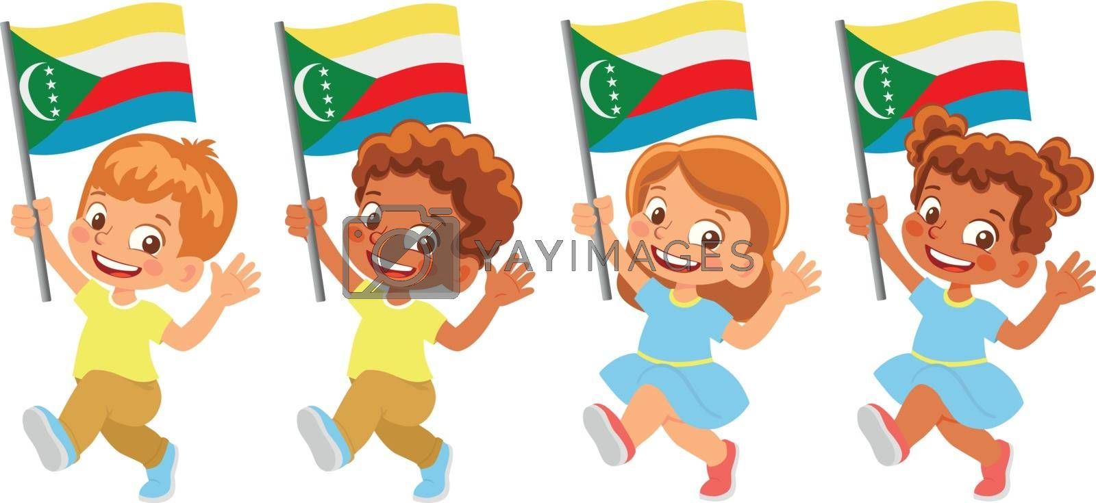 Comoros flag in hand. Children holding flag. National flag of Comoros vector