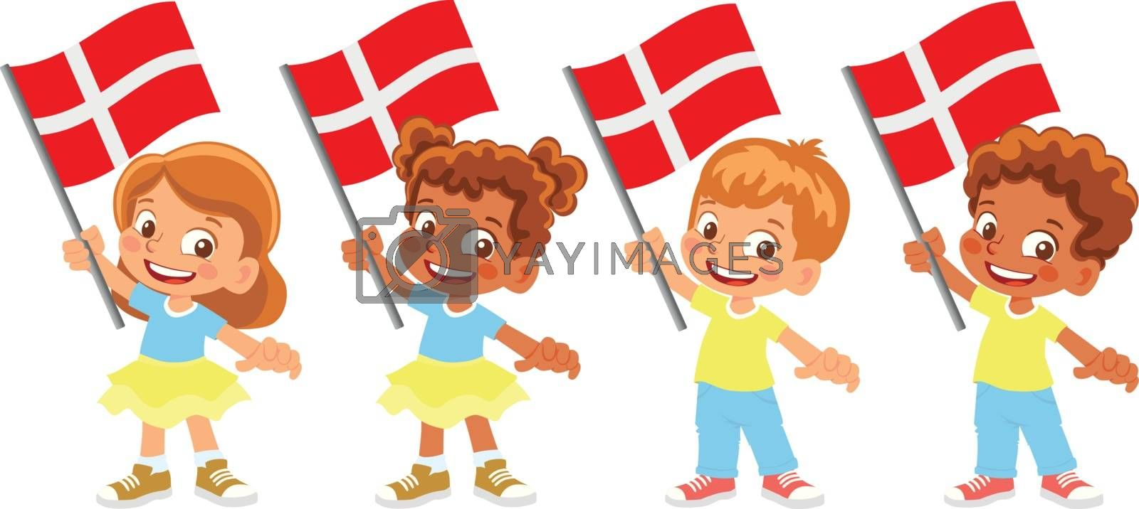 Denmark flag in hand. Children holding flag. National flag of Denmark vector