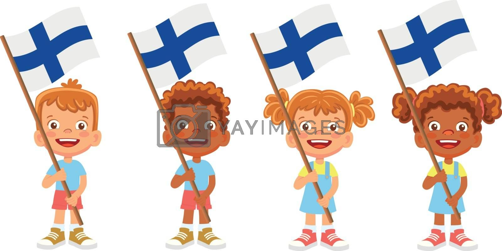 Finland flag in hand. Children holding flag. National flag of Finland vector