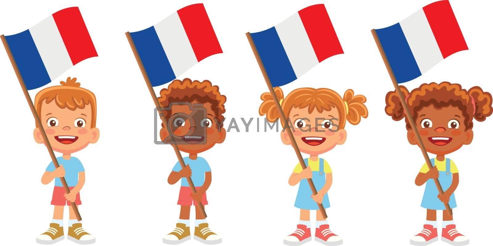 France flag in hand. Children holding flag. National flag of France vector