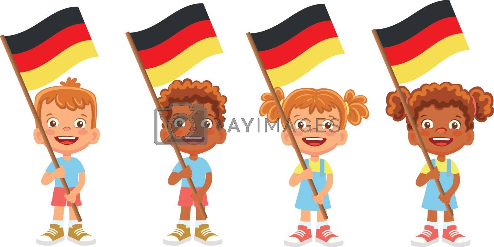 Germany flag in hand. Children holding flag. National flag of Germany vector