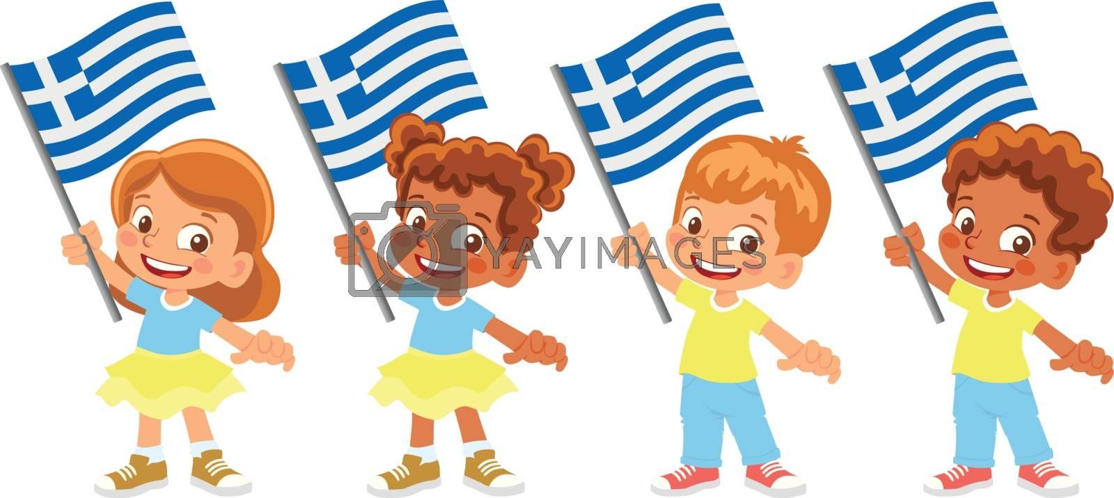Greece flag in hand. Children holding flag. National flag of Greece vector