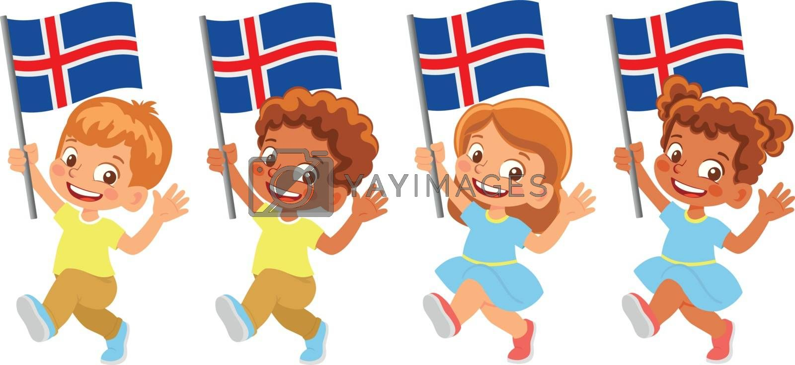 Iceland flag in hand. Children holding flag. National flag of Iceland vector