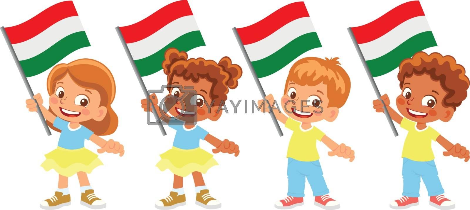 Hungary flag in hand. Children holding flag. National flag of Hungary vector