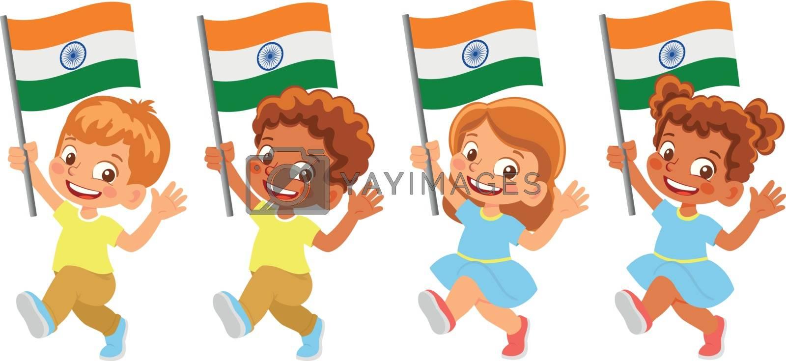 India flag in hand. Children holding flag. National flag of India vector