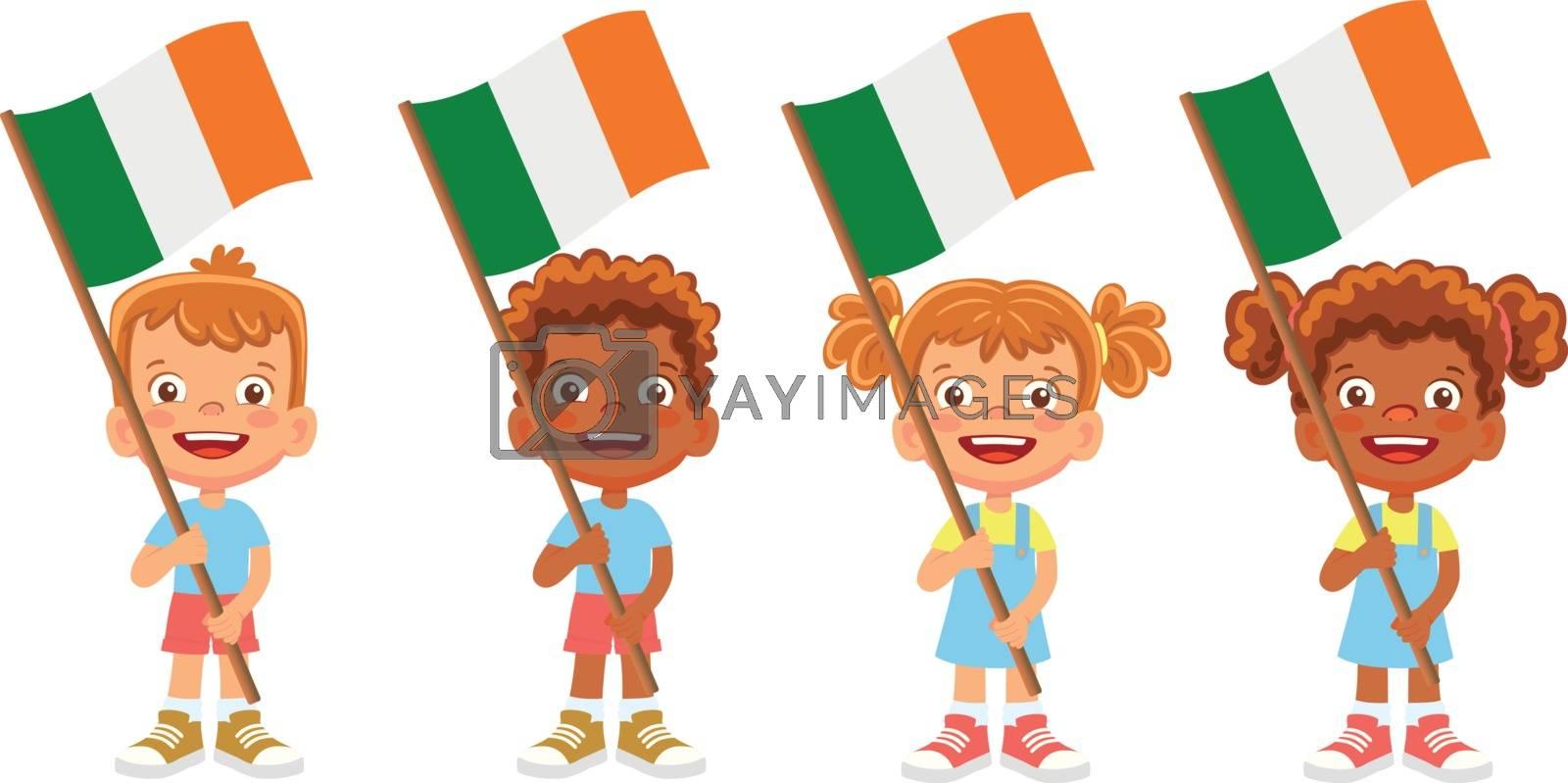 Ireland flag in hand. Children holding flag. National flag of Ireland vector