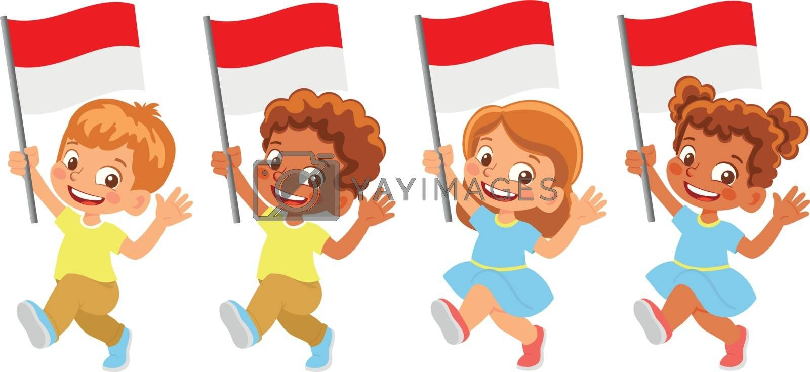Royalty free image of Indonesia flag in hand set by Visual-Content