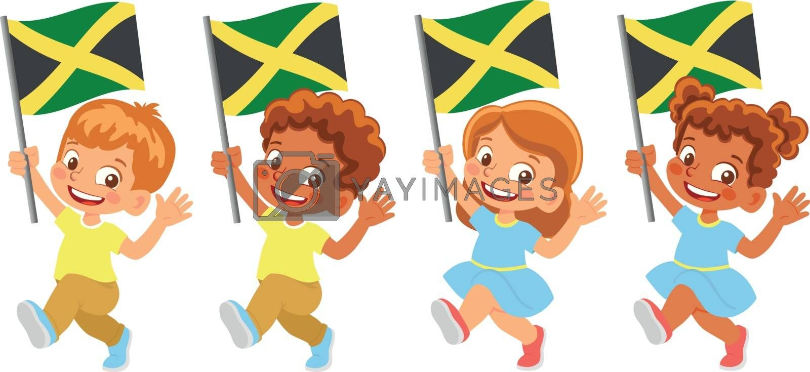 Royalty free image of Jamaica flag in hand set by Visual-Content